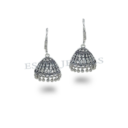 Stylish Oxidized Silver Jhumkas