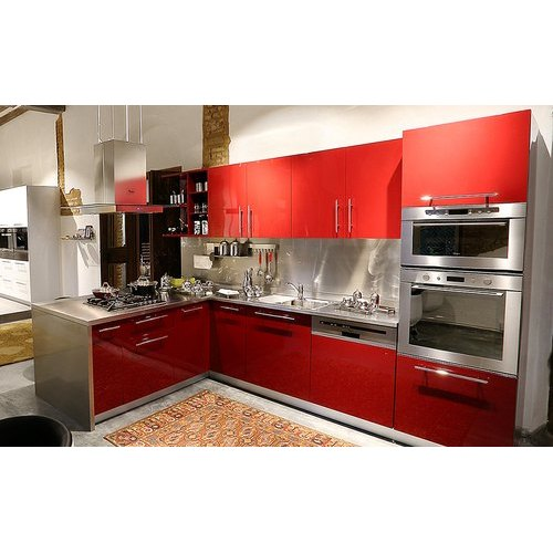 Stainless Steel L Shape Modular Kitchen Designing Services