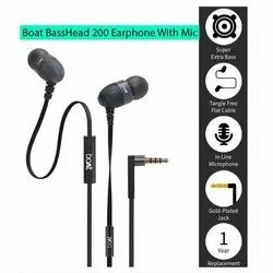 Wired Boat Bass Head 200 Earphone With Mic, Packaging Type: Packet