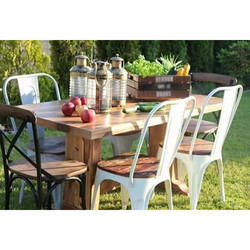 Wooden And Iron Garden Dining Table