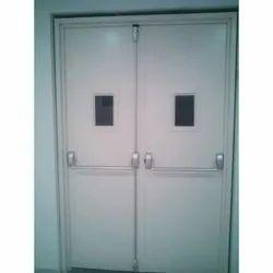 White Hinged Panic Bar Mild Steel Double Door for Hospital