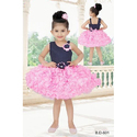 S, M Party Wear Girls Pink Frock