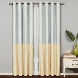 Silver & Yellow Plain Half n Half Blackout Gold Door Curtain, Size: 7 Feet