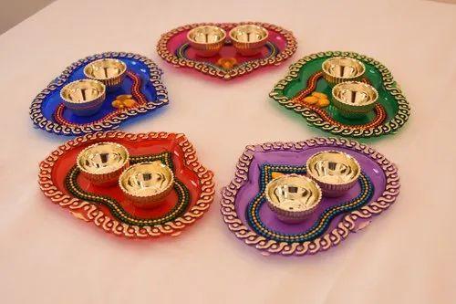 Heart Shaped Kumkum Platters