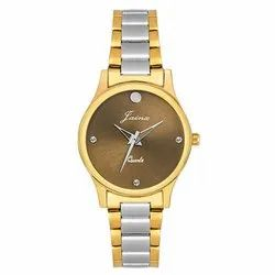 Jainx Brown Dial Two Tone Golden Analog Watch for Women JW1203