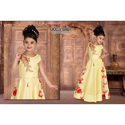Yellow Satin Embroidered Kids Gown