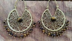 Jhumki Golden Brass Stone Imitation Earring