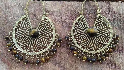 Brass Stone Imitation Earring