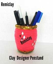 Decorative Clay Pot and Pen Holder