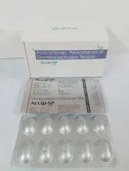 Aceclofenac 100mg,Paracetamol,Serratiopeptidase15 Mg Tablets
