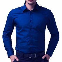 Men Satin Royal Blue Plain Shirt, Size: S-XL