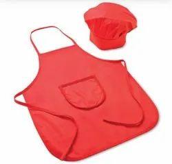 Cotton Red Kitchen Apron And Cap, Size: XL,XXL