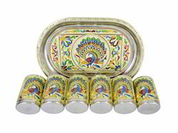 Royal Peacock Designed Serving Tray With 6-Glasses - Golden