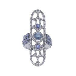 Silver Gemstone Diamond Ring