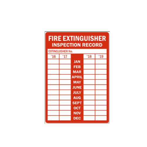 Fire Extinguisher Inspection Record Sticker