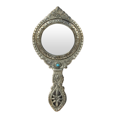 hand mirror. Exellent Hand Hand Mirror Round Shape Beautifully Carved In Metal With O