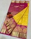 Bridal Wear Kanchipuram Handloom Pure Silk Saree, Dry Clean, 6 M (with Blouse Piece)
