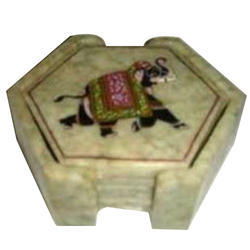 Natural Soapstone Coaster Set Elephant Painted