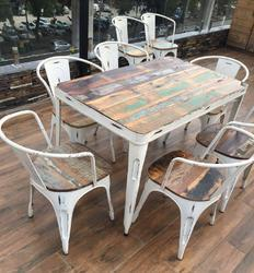 Handicraft Point Tolix Restaurant Chairs and Table, Seating Capacity: 6 Seater