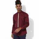 Designer Maroon Full Sleeve Men Casual Cotton Shirt