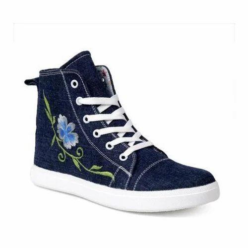 Women Dark Blue Canvas Shoes, Rs 220