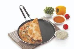 Nirlon 4mm Non Stick Cookware Gas Compatible Aluminium Flat Roti Dosa Tawa With Wire Handle (Red)