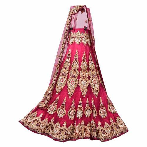 57e82442c0f Silk Dark Mehroon Bridal Lehenga