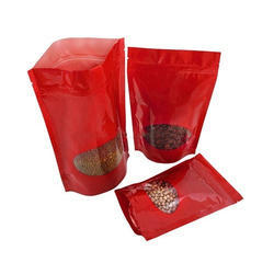 Red Oval Window Stand Up Pouches