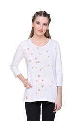 White Casual Printed Top for Women, Size: S to XXL