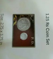 Dark red Silver 1rupees patches paisa, Indian Coin