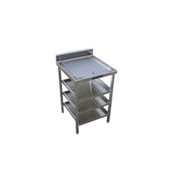 SS Clean Glass Table with Perforated Top