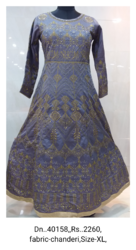 Full Sleeves Embroidered Readymade Dress, Size: Xl