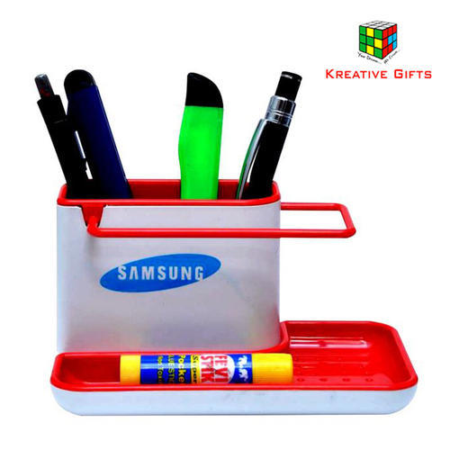 Kreative Gifts Red & White Pen Stand with Mobile Holder