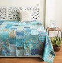 Turkish Cotton Handmade Vintage Patchwork Queen Size Embroidery Kantha Quilt Home, Size: 60 X 90 Inches