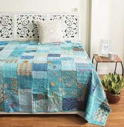Handmade Vintage Patchwork Queen Size Embroidery Kantha Quilt Home
