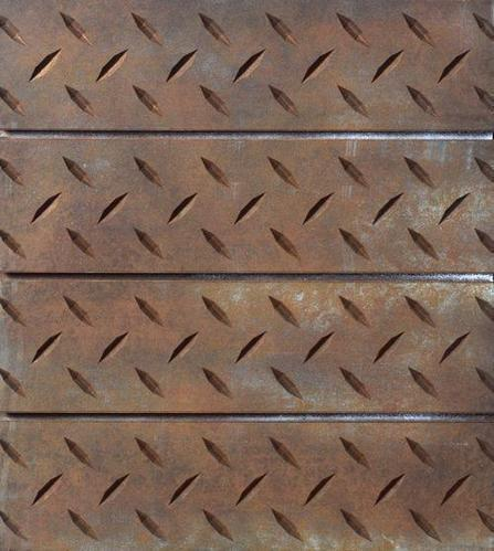 3D Rust Diamond Plate Slatwall Panel