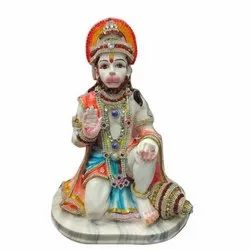 Multicolor Sitting Hanuman Statue, For Worship, Size: 5 - 20 Inches