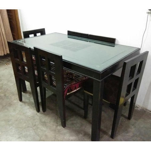 6 Seater Wooden Dining Table Set लकड क भजन मज