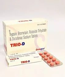 TRIO-D Trypsin Bromelain Rutoside Trihydrate and Diclofenac Sodium Tablets