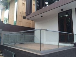 Silver Tempered Glass Balcony Railing
