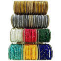 Green And Golden Ladies Colored Silk Thread Bangle