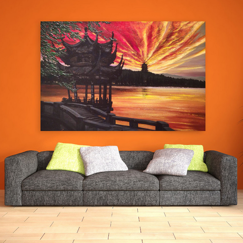 Canvas Painting Beautiful Buddhist Monastery Art Wall Painting