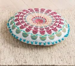 Multicolor Mandala Round Yoga Pillow Custom Meditation Cushion Polyester Filled, For Home, Hotel, Size/Dimension: 40 Cms