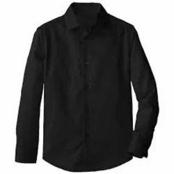 Mens Cotton Black Plain Shirt