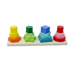 Tootpado Multicolor Wooden Geometric Shape Sorter Puzzle - 1TNG238