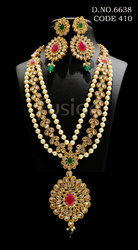 Traditional Ruby Emerald Long Necklace Set