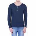 Mens Cotton Black Henley T Shirt, Size: S-l