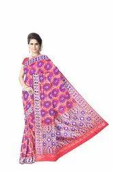 Red And Blue Weaving Design Dupion Silk Bandhani Saree