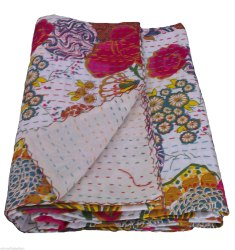 White Printed Kantha Quilt