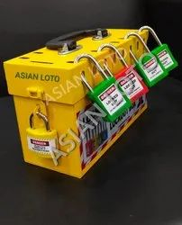 Yellow Steel Asian Loto Group Lockout Box 8-12-16 Hole With Lock, Multipurpose